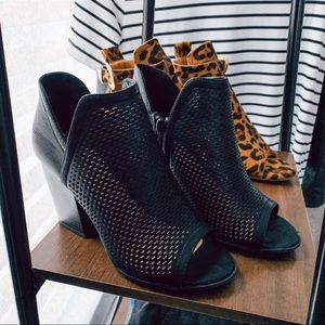 Cutout black peep toe booties chunky heel